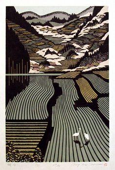 Ray Morimura - Tanada (woodblock)