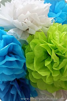 Tissue poofs -- easy and cheap party or shower decor!