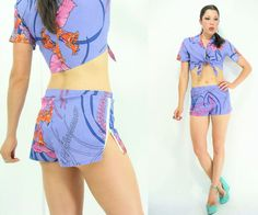 Vintage Purple Hawaiian Matching Shorts + Crop Top Set
