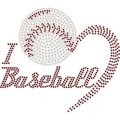 HEART Baseball Rhinestone Transfer
