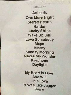 Maroon  World Tour  Song List