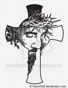 Cross with christ line art tattoos, tatoo art, body art tattoos, tribal tattoos Line Art Tattoos, Body Art Tattoos, Tattoo Drawings, New Tattoos, Tribal Tattoos, Sleeve Tattoos, Tattoo Sleeves, 3d Drawings, Tattoo Sketches