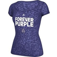 Sacramento Kings Ladies Forever Purple Burnout T-Shirt from Adidas is a cotton/polyester (50/50) blend shirt with a Forever Purple front chest graphic featuring the Kings primary logo and Adidas logo.