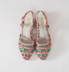 Vintage Bally Pastel Sandals: 80s Woven Leather Sorbet Multi Color Sandals Summer Low Heel Designer Shoes Made in Italy