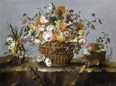 Francesco Guardi: Blumen in einem Korb und ein kleiner Zweig mit Kirschen.