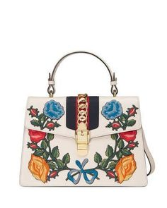 Gucci Sylvie Embroidered Leather Top-Handle Satchel Bag on ShopStyle