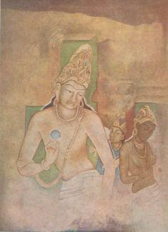 Buddha, Yashodhara, and RahulPainting of Ajanta copied by artist Nandalal Bose