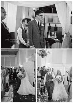 A bride enjoys the spotlight at Robbins Sanford Grand Hall.