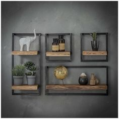 Combined wall shelf Edge Kombi Wandregal Edge I The combi wall shelf Edge consists of several individual wall shelves. The shelves consist of a shelf made of solid acacia wood and a … - Interior Design Living Room, Living Room Decor, Interior Livingroom, Kitchen Interior, Modern Floating Shelves, Home Decor Shelves, Regal Design, Grey Home Decor, Modern Wall Decor