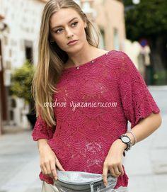 Летние стильные ажурные топы спицами - Klubok.ru.com Tunic Tops, Lace, Model, Fashion, Moda, Fashion Styles, Scale Model, Racing
