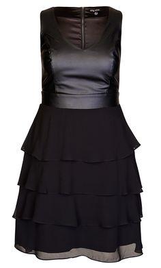 City Chic - PLEATHER BODICE DRESS - Women's Plus Size Fashion