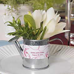 Miniature Metal Watering Cans -- for the sweetheart table