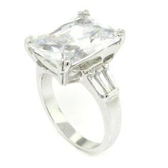 Engagment Ring Emerald-Cut White Topaz CZ Sterling Silver Ring White Topaz Rings, Kate Hudson, Rings For Her, Emerald Cut, Sterling Silver Rings, Engagement Rings, Yolo, Crystals, Luxury