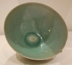 12th C. Korean Stoneware Bowl with Flying Parrots,  incised decoration under green glaze. LACMA