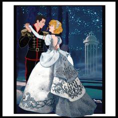 Cinderella and Prince Charming sharing a romantic dance Arte Disney, Disney Fan Art, Disney Love, Disney Magic, Disney Princesses And Princes, Disney Princess Drawings, Princess Art, Pixar, Cinderella And Prince Charming