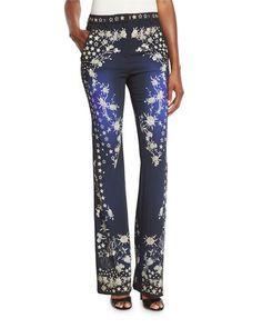 B3DBV Roberto Cavalli Star-Print Boot-Cut Pants, Blue/Multi