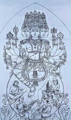 Crayon Drawings, Art Drawings Sketches, Easy Drawings, Shiva Art, Hindu Art, Indian Traditional Paintings, Traditional Art, Temple Drawing, Lord Shiva Statue