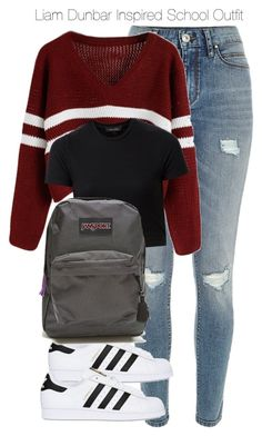 """""""Liam Dunbar Inspired School Outfit"""" by staystronng ❤ liked on Polyvore featuring River Island, adidas Originals, JanSport, school, tw and LiamDunbar"""
