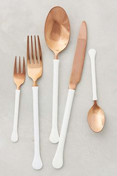 Surprise your guests at your next party with these modern copper and white utensils.