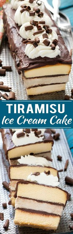 Tiramisu Ice Cream Cake - layers of no-churn coffee ice cream, cake, and chocolate for a decadent treat that's great for entertaining. : dinneratthezoo