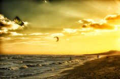 kite surfing in the sunset goring by sea by MoiraChalmers