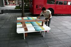 Featuring a series of interlocking installations by Raw-Edges Design Studio , a collaboration between a duo team of Israeli designers, Yael. Urban Furniture, Home Decor Furniture, Cool Furniture, Furniture Design, Outdoor Furniture, Rustic Wooden Bench, London Design Festival, Bench Designs, Outdoor Chairs