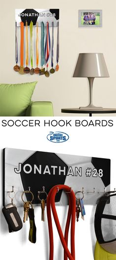 Looking for a personalized way to organize your room, home, or soccer awards and medals? Our soccer hook boards are the perfect way! Basketball Room Decor, Basketball Gifts, Ways To Organize Your Room, Personalized Basketball, Basketball Birthday, Custom Beach Towels, Soccer Training, Room Signs, Soccer Players