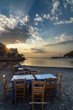 Sunrise at Pera Gialos beach, Astypalaia island, Dodecanese, Greece Greek Isles, Acropolis, Ancient Greece, San Francisco Skyline, Photo Credit, Sunrise, Beautiful Places, History, Beach