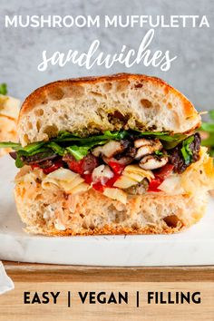 These Mushroom Muffuletta Sandwiches is a great vegetarian option with tons of flavor from the toasted ciabatta buns, delicious pesto, creamy provolone cheese, briny homemade muffuletta mix with meaty shiitake mushrooms and topped with arugula! Vegetarian Sandwich Recipes, Lunch Recipes, Easy Dinner Recipes, Beef Recipes, Real Food Recipes, Cooking Recipes, Healthy Recipes, Veggie Sandwich, Veggie Burgers