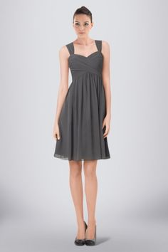 Modest Short Chiffon Bridesmaid Dress Featuring Refined Criss-Cross
