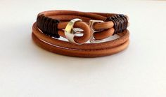 "Bracelet "" leather "" - unisex, double bracelet, leather cord by HandmadeMinola on Etsy"
