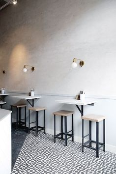 Cute, neat and tidy furniture for a coffee shop. Minimal space and maximum interaction.