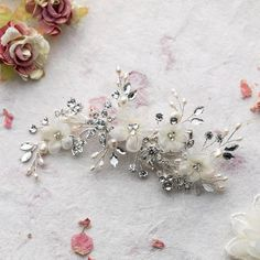 Dina Flower And Crystal Hair Comb by Lola & Alice, the perfect gift for Explore more unique gifts in our curated marketplace. Pretty Flowers, Flowers In Hair, Fabric Flowers, Flower Hair, Wedding Hair Pins, Bridal Hair, Ivory Wedding, Hair Pieces, Swarovski Crystals