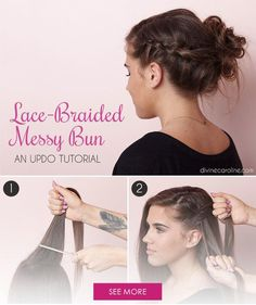 This braided bun updo is the perfect combination of naughty and nice. The lace braid keeps it looking romantic and elegant, while the messy bun adds texture and a rock-and-roll attitude. Give this style a try for your next wedding, holiday party, or school dance. - DivineCaroline.com