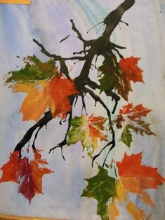 Fall Arts And Crafts, Easy Fall Crafts, Fall Crafts For Kids, Art For Kids, Tree Watercolor Painting, Kids Watercolor, Watercolor Projects, Fall Art Projects, Classroom Art Projects