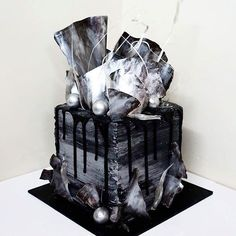 Sugar High Desserts. #BLACK & #SILVER Marble Square Custom Cake ✨ One or my favourite cakes that I have made recently #SugarHigh