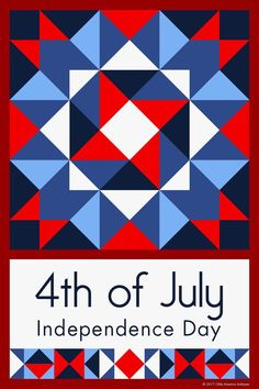 4TH OF JULY QUILT BLOCK - This quilt block is an original design by Susan Davis. Susan is the owner of Olde America Antiques and American Quilt Blocks. Visit her web sites to see more than 6,000 quilt blocks for sale.