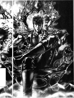 Kenshiro sitting on throne. Fist of the North Star.