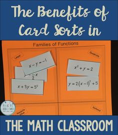 I recently started using card sorts in my eighth grade math classroom.  Using card sorts has really had a very positive impact on my students.  Read about how students learn to identify patterns, engage in discussion, and benefit from hands-on learning.  By Free to Discover.
