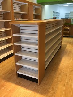 Rx wood top gondola shelving from handy store fixtures retail in 2019 дизай Small Store Design, Retail Store Design, Retail Shelving, Store Shelving, Gondola Shelving, Supermarket Design, Wood Store, Store Layout, Store Fixtures