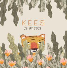 Zie jij het tijgertje tussen de bladeren? Een hip jungle-kaartje voor een jongen! Movie Posters, Film Poster, Billboard, Film Posters