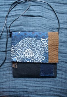 small bag in antique Japanese and Indian indigo by lesamovar