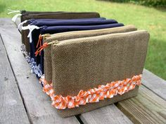 """That's My Letter: """"T"""" is for Tweed ::gingham ruffle wool pouch"""