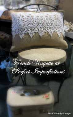 Shabby French Cottage Chic Burlap and Crochet / Venice Lace Front Pillow