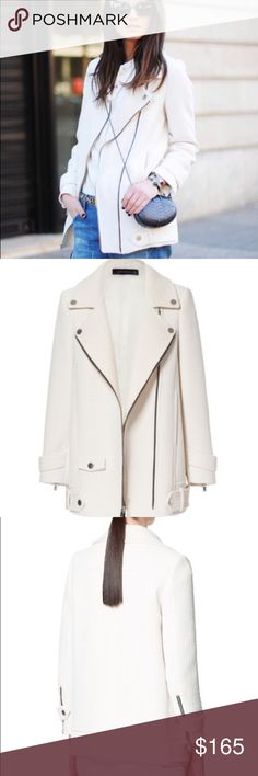 Zara White Combination Coat with Zippers Size M Blogger favorite  Worn once, great condition  Zara Jackets & Coats