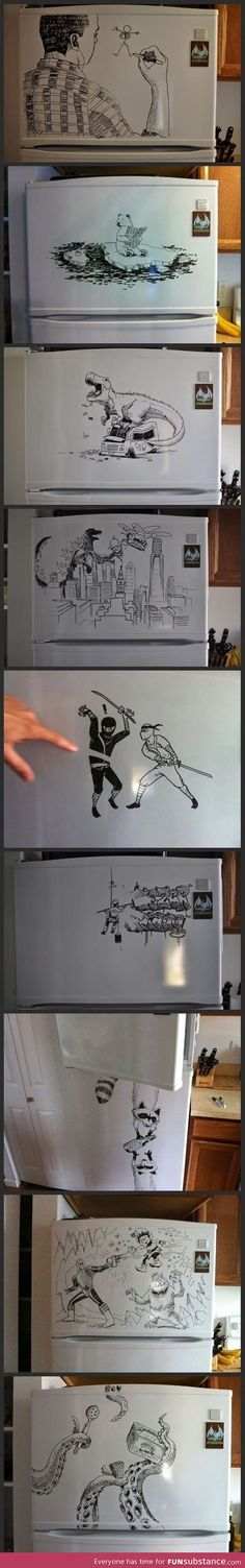 Amazing fridge drawings