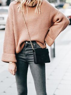 2019 Fashion Outfit Ideas - New Coffee Print Polo Neck Long Sleeve Fashion Pullover Sweater - Outfit - Wintermode Mode Outfits, Fall Outfits, Casual Outfits, Fashion Outfits, Fashion Trends, Fashion Ideas, Women's Casual, Fashion Styles, Fashion Clothes