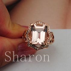 11x9mm Emerald  cut Morganite ring 14K Rose Gold by 4YOURSELF, $599.00