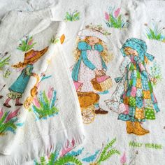 Vintage 1970s Bath Towel Set / 70s Cannon Holly Hobbie Bath Towel Set NOS / Set of Bath and Towel and Washcloth by AttysSproutVintage on Etsy