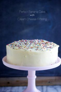Melt in your mouth, perfect banana cake with cream cheese frosting will be the talk of the house when you finish this dessert! #Cake #CreamCheesefrosting #Desserts